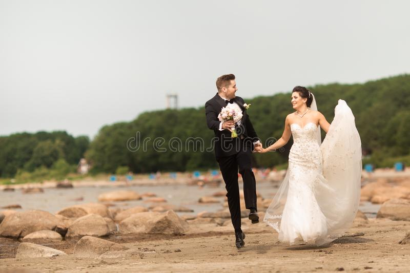 Happy young wedding couple having fun on the beach royalty free stock photo