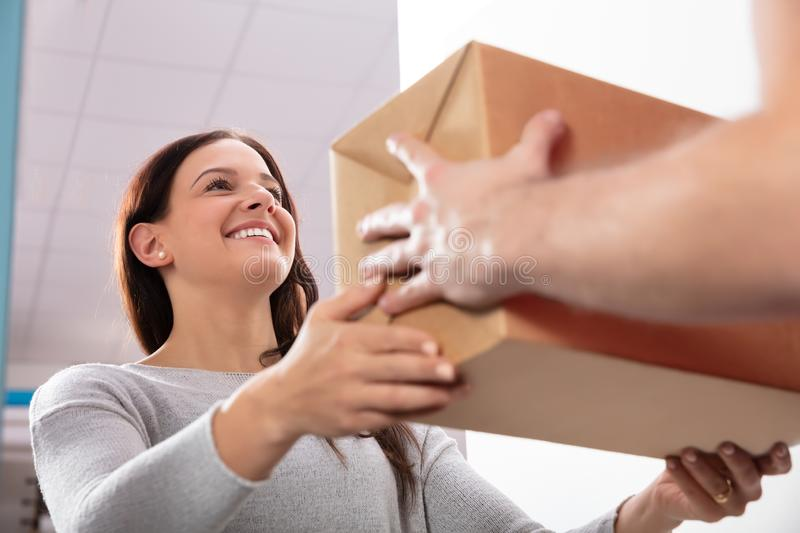 Delivery Man Giving Box To Young Woman royalty free stock images