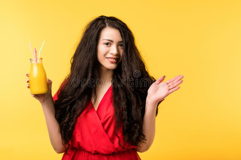 Happy woman fresh smoothie healthy vegan dieting royalty free stock photo