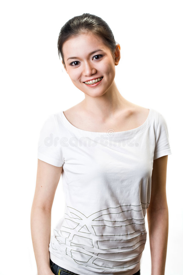 Happy Young woman with braces stock photo