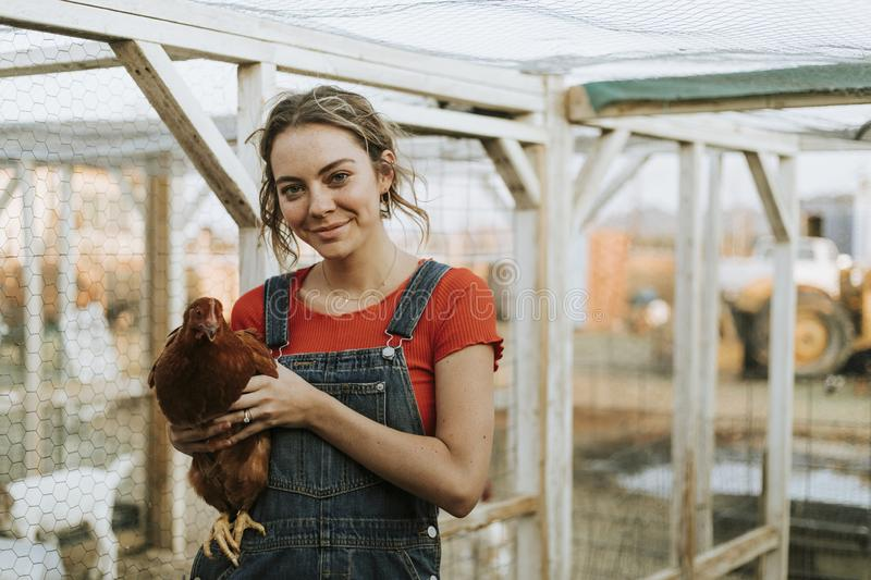 Happy young woman with a brown hen royalty free stock image