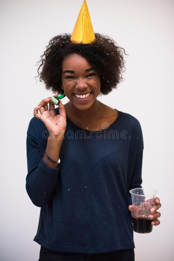 Happy young woman celebrating stock images
