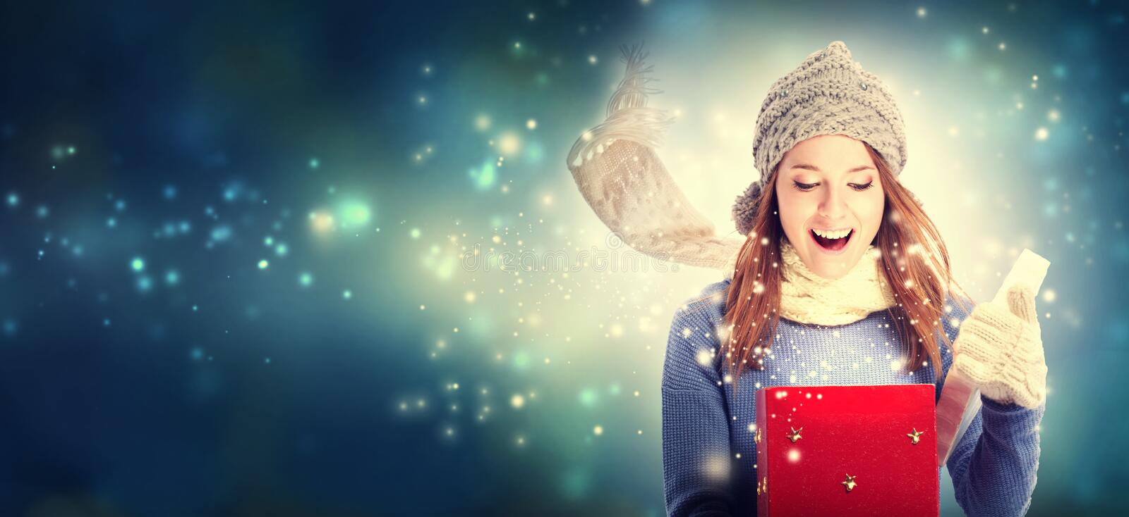 Download Happy Young Woman With Christmas Present Box Stock Photo - Image of open, gloves: 78431272