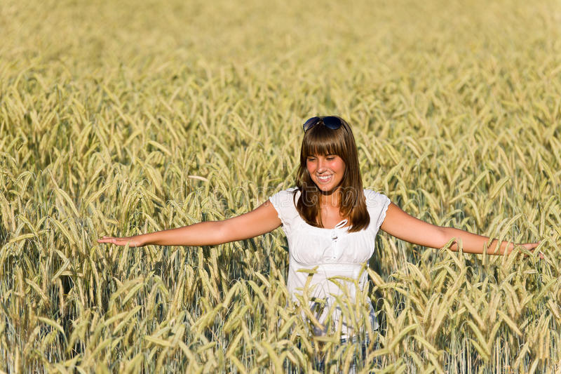 Download Happy Young Woman In Corn Field Stock Image - Image: 15305373
