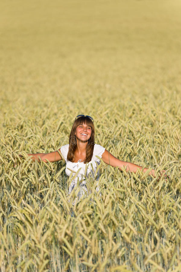 Download Happy Young Woman In Corn Field Enjoy Sunset Stock Image - Image: 15349843