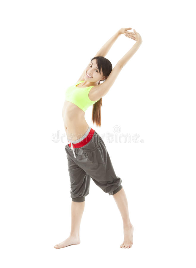 Download Happy Young Woman Doing Stretch Exercise Stock Photo - Image: 29802674