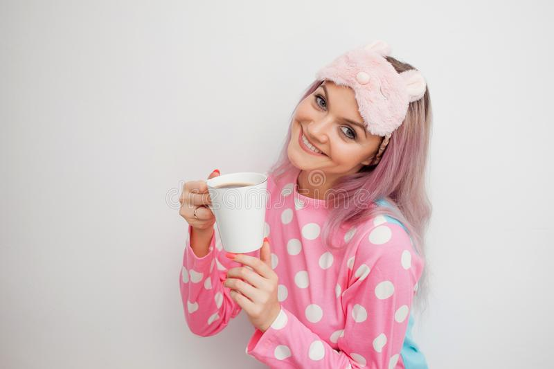 Happy Young Woman Drink Morning Coffee. Beautiful Girl In
