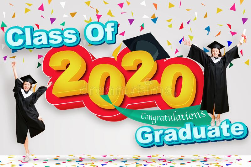 Happy young woman in graduation gowns and celebrating 2020 graduate concep stock image
