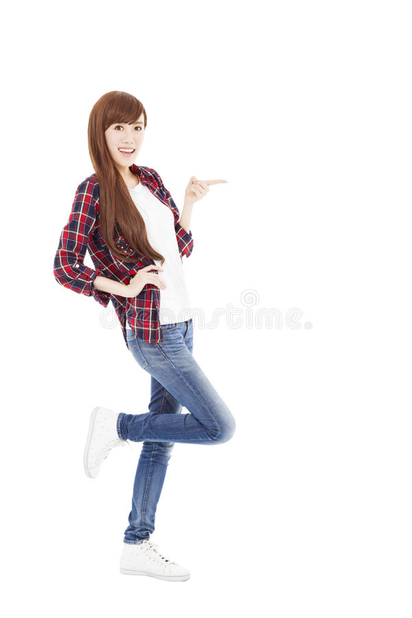 Happy young woman hand pointing something stock photography
