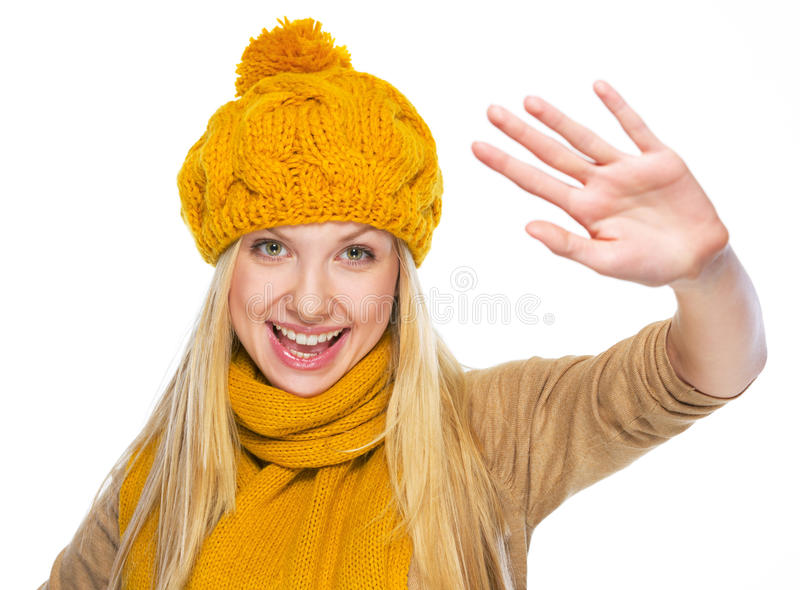 Download Happy Young Woman In Hat And Scarf Greeting Stock Photo - Image: 32844076