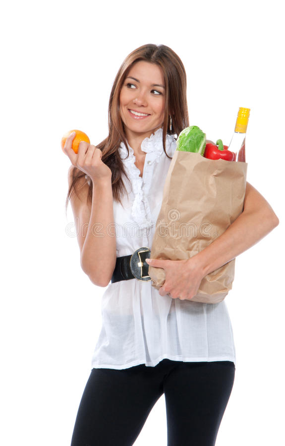 Free Happy Young Woman Holding A Shopping Bag Royalty Free Stock Photo - 20119785