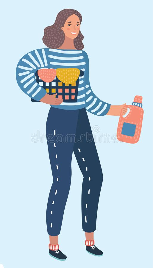 Happy young woman holding clothes laundry chores basket royalty free illustration