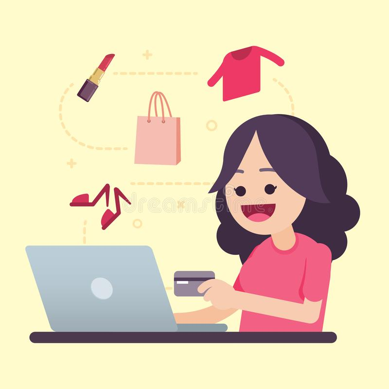 Happy young woman holding credit card doing online shopping, vector illustration. royalty free illustration