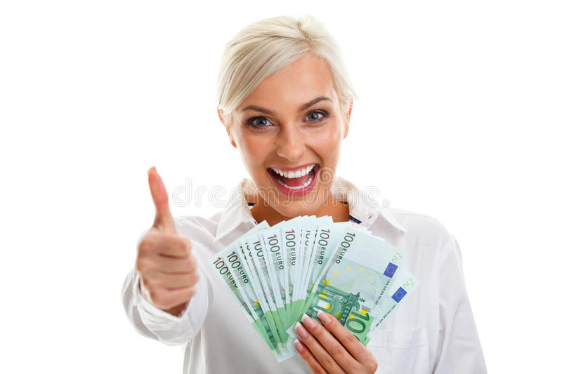 Happy young woman holding euro bills royalty free stock photo