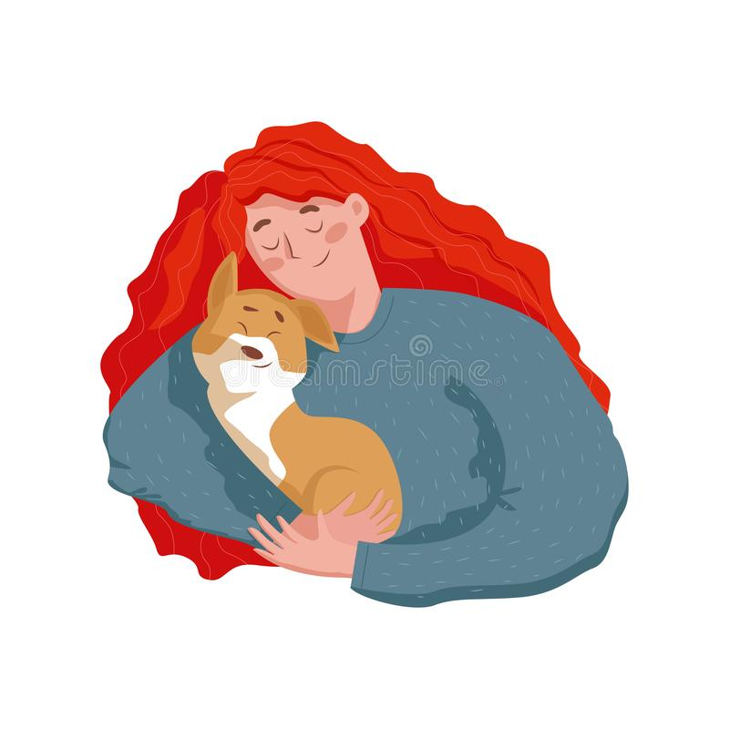 Happy Young Woman holding and hugging a cute puppy. In Flat style isolated vector character illustration vector illustration