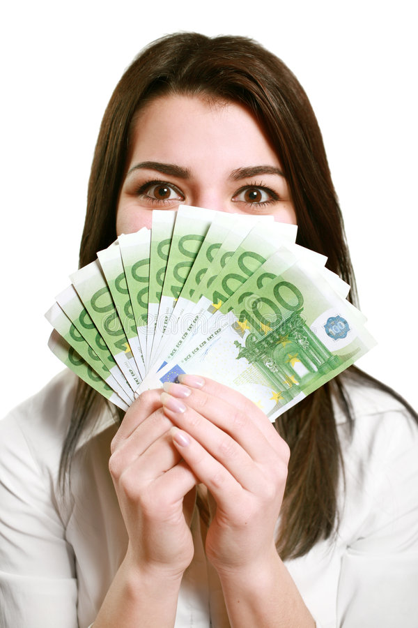 Download Happy Young Woman Holding Money Stock Photo - Image of euro, debt: 7809806