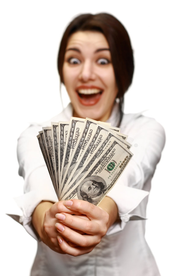 Download Happy Young Woman Holding Money Stock Image - Image: 7946645