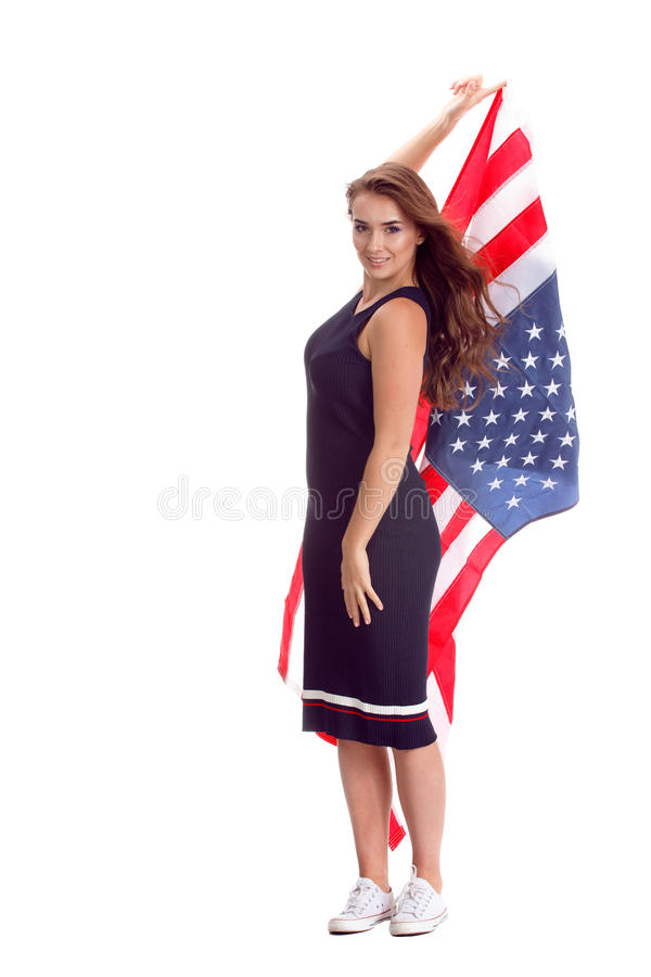 Happy Young Woman With Usa Flag Stock Photo - Image of smile