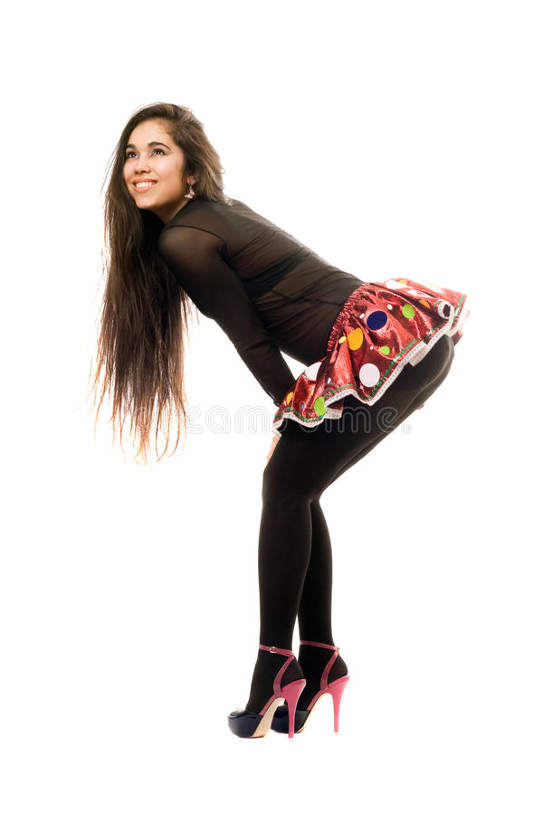 Happy young woman. Isolated stock photography