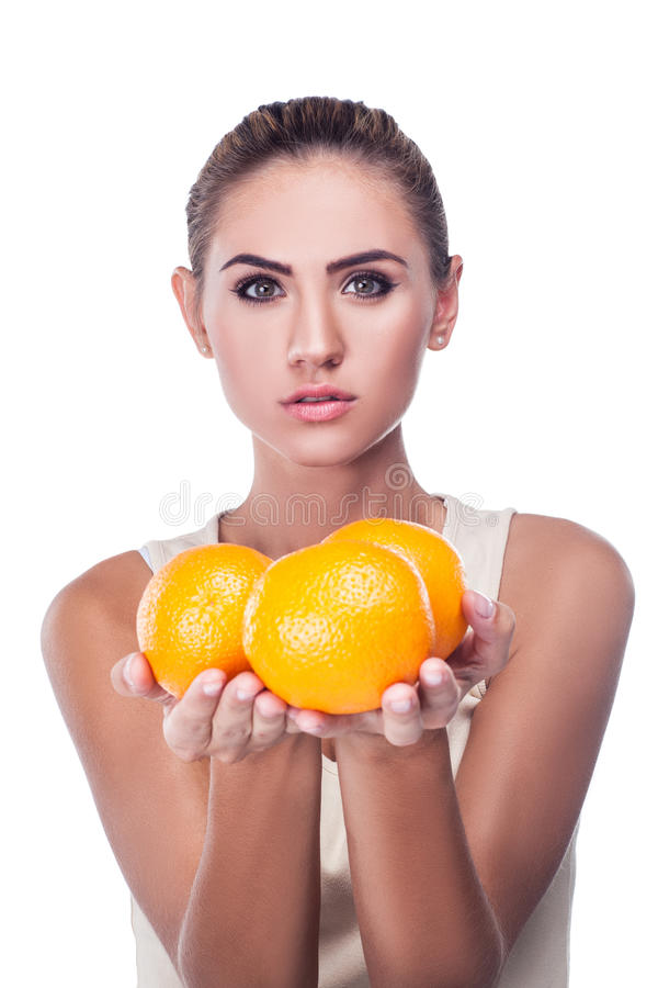 Happy Young Woman with juice stock photo