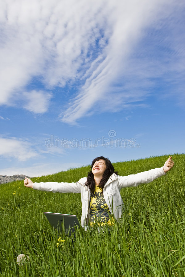 Download Happy Young Woman With Laptop Stock Images - Image: 4800694