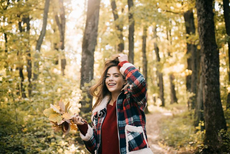Happy young woman in park on sunny autumn day. Yellow Trees and Leaves. Cheerful beautiful girl in red sweater outdoors royalty free stock photos