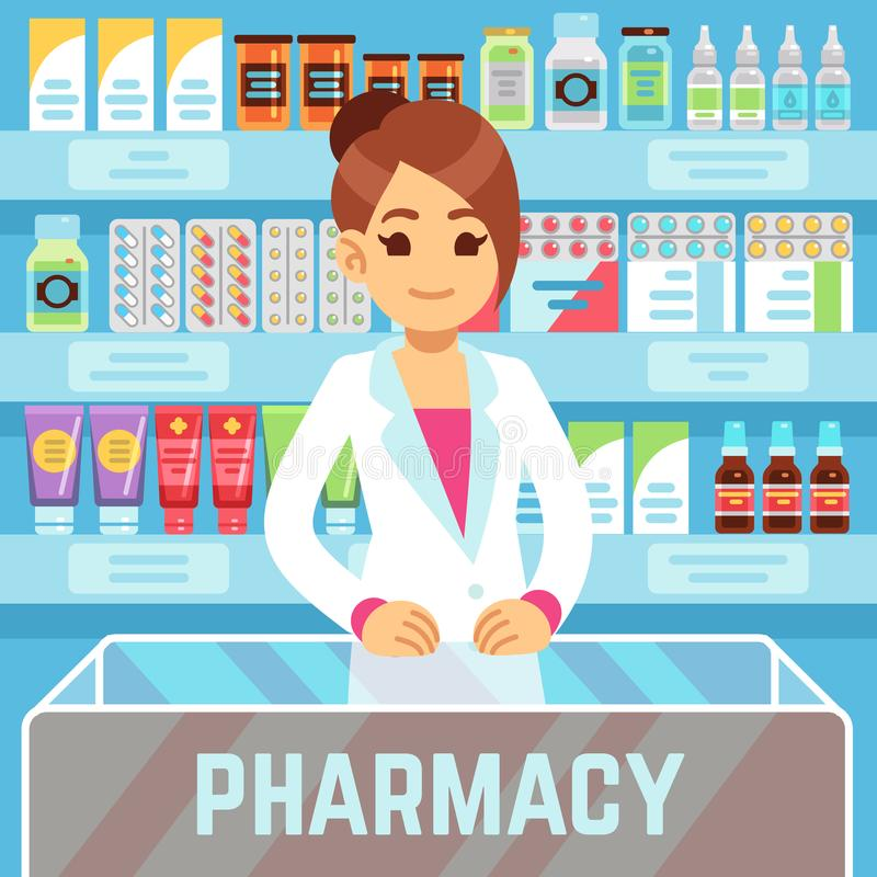 Happy young woman pharmacist sells medications in pharmacy interior. Pharmacology and healthcare vector concept. Medical shop and store, pharmaceutical stock illustration