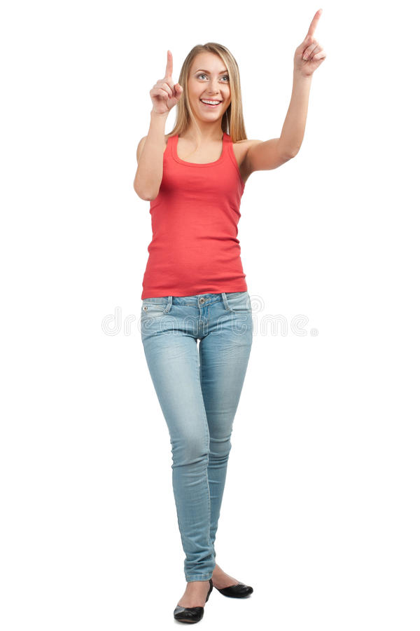 Download Happy Young Woman Pointing Up Stock Photo - Image: 19354474