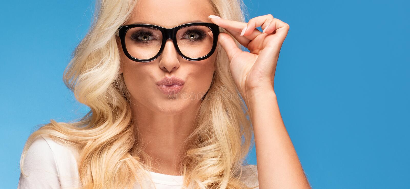 Happy woman with eyeglasses royalty free stock image