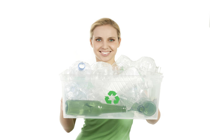 Happy young woman recycling stock photos
