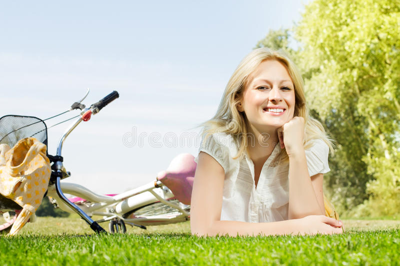 Happy Young Woman Relaxing Royalty Free Stock Photos