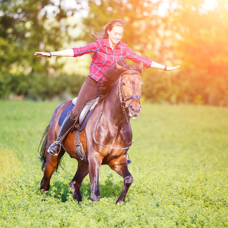 Happy young woman riding horse at sunny summer day royalty free stock image