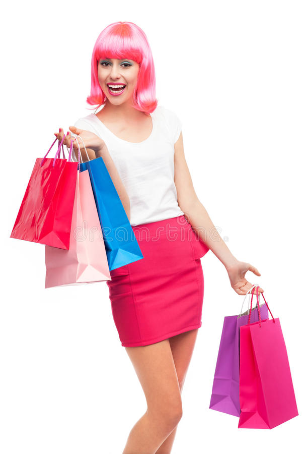 Happy Young Woman With Shopping Bags Royalty Free Stock Image