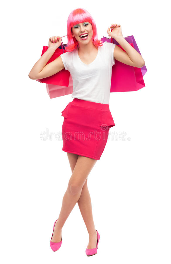 Download Happy Young Woman With Shopping Bags Stock Photo - Image: 28304978