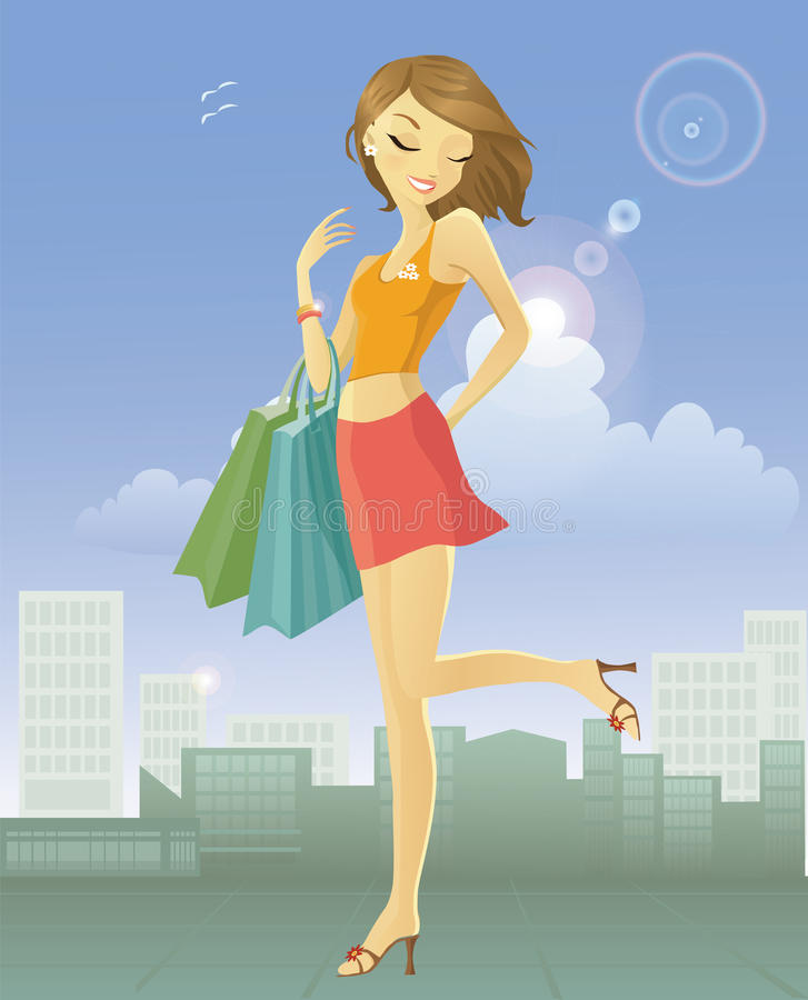 Happy young woman after shopping in the city royalty free illustration