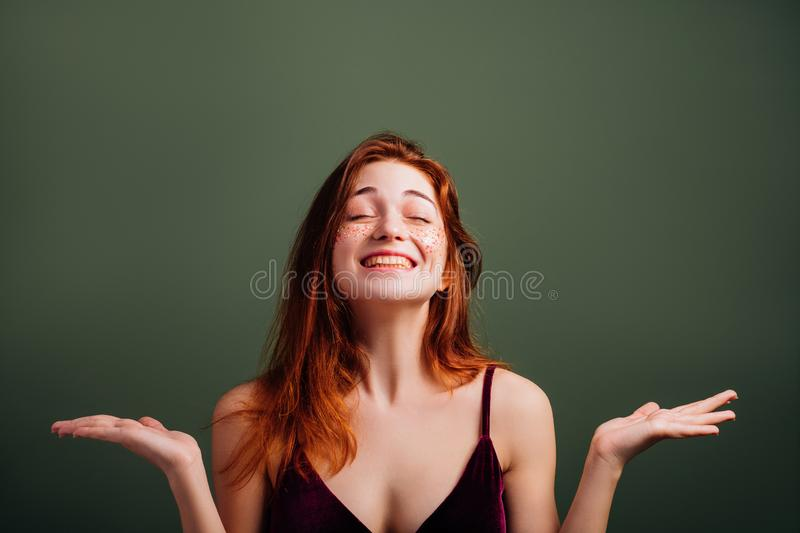 Happy young woman smiling female open palms stock photo