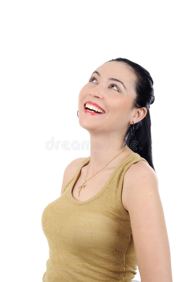 Download Happy Young Woman Smiling On White Background Stock Photo - Image: 18855808