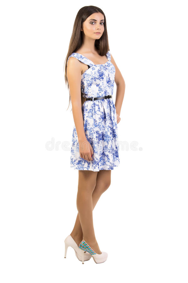 Happy young woman standing stock images