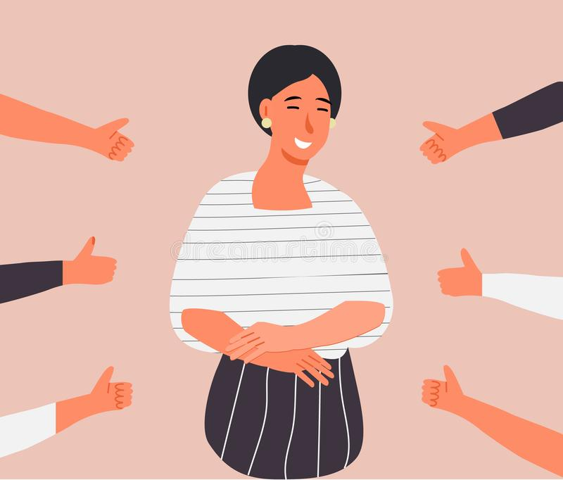 Happy young woman is standing and she is surrounded by hands with thumbs up vector illustration