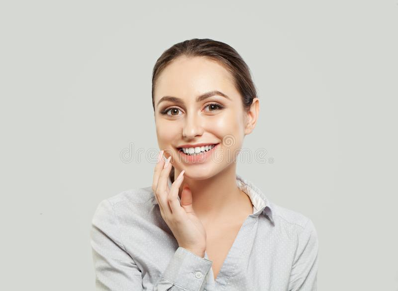 Happy young woman student on white background royalty free stock photos