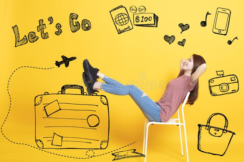 young Woman with Summer Holiday Travel Concept royalty free stock photos