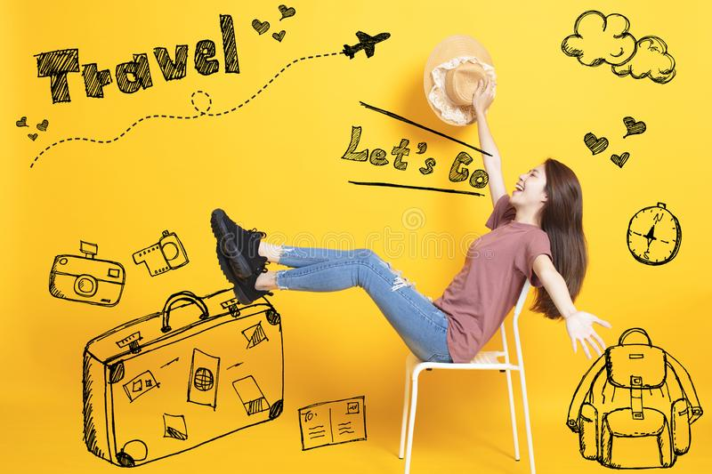 young Woman with Summer Holiday Travel Concept royalty free stock images