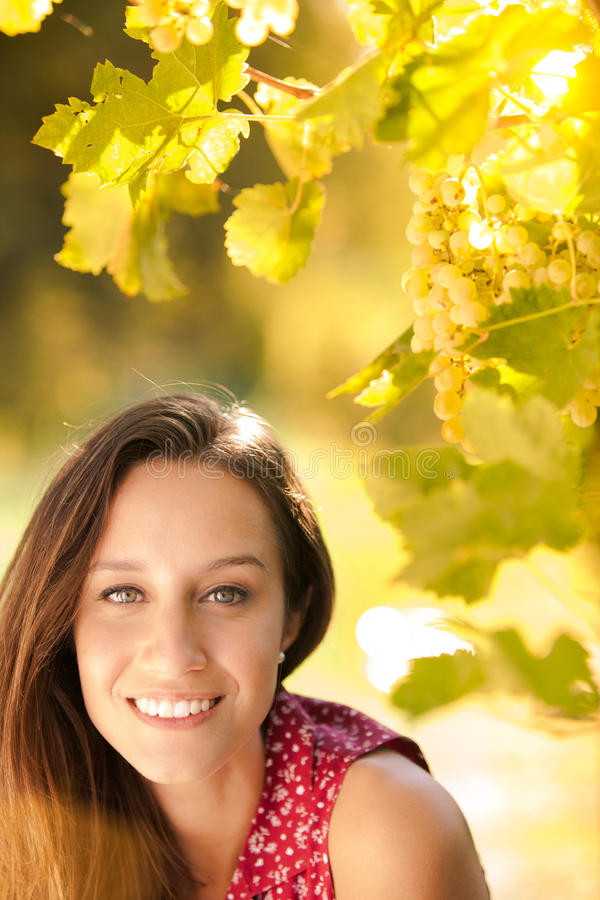 Happy young woman at the sunset stock photography