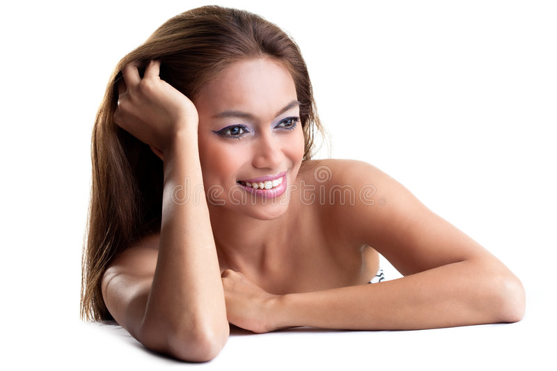 Happy Young Woman With Tanned Skin Royalty Free Stock Photography