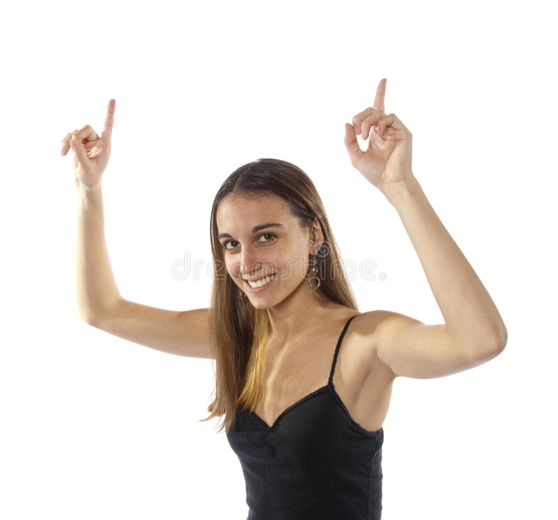 Download Happy Young Woman Waving Arms Number One. Stock Image - Image: 22619531
