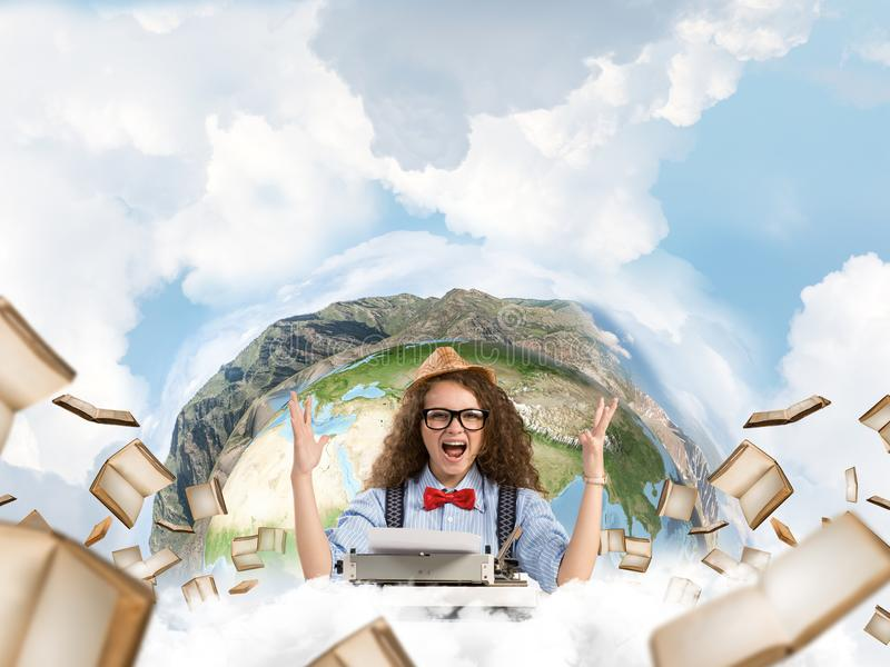 Creative inspiration of young female writer. stock photo