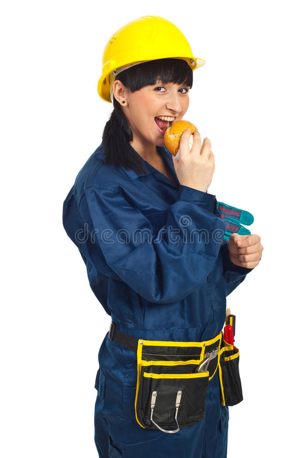 Happy Young Worker Woman With Sandwich Stock Photo