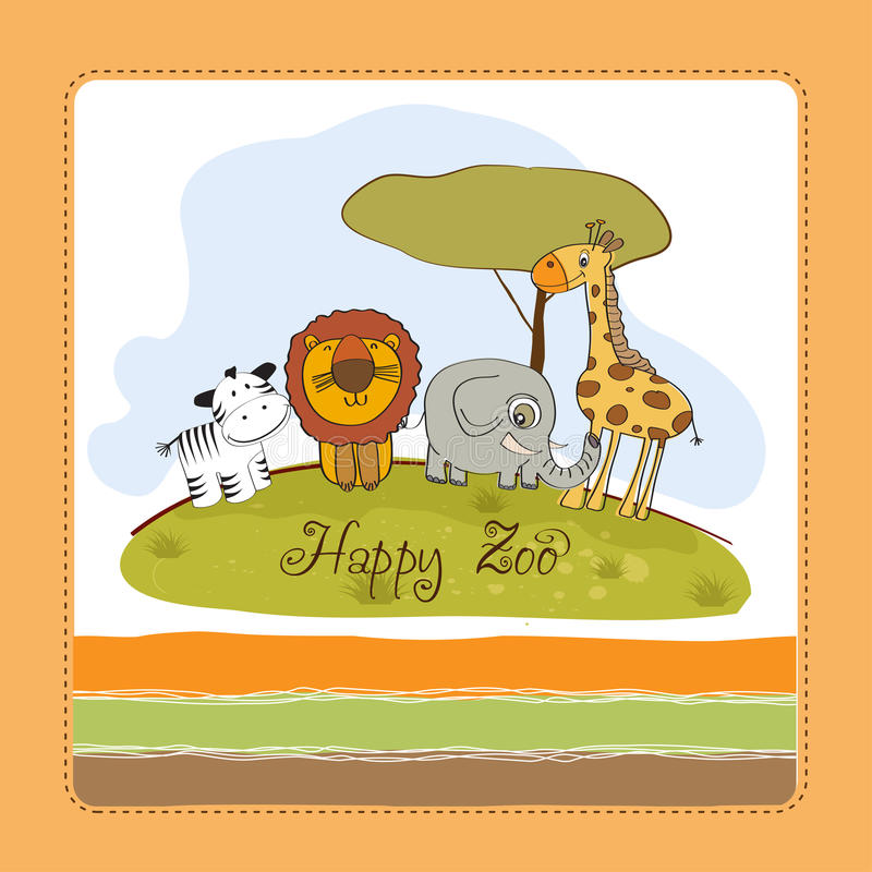 Download Happy zoo stock illustration. Illustration of happy, greeting - 24551827