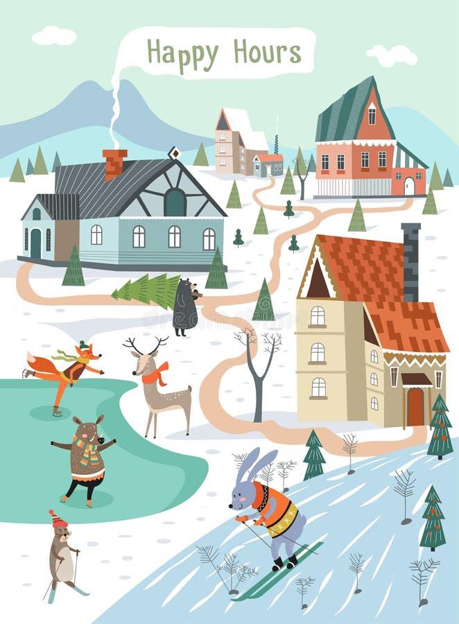 Happys hour de feriados de inverno, animais que jogam fora ilustração royalty free