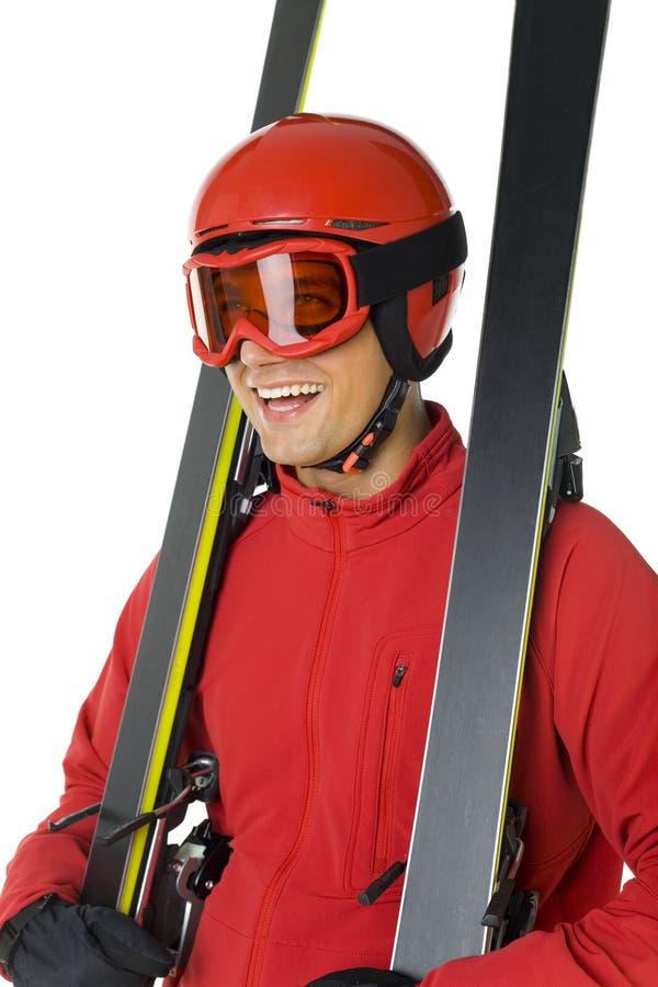 hapy他的滑雪者滑雪 库存照片